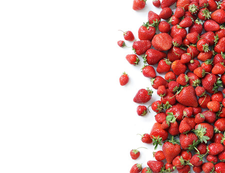 Fresh strawberry isolated white background. Copy space. Top view, high resolution product. Stock Photo - 59843420