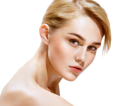 beautiful woman body: Beauty Woman. Photo of attractive blonde girl on white background. Youth and Skin Care Concept. Stock Photo
