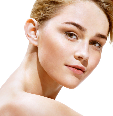 Beauty portrait. Close up. Perfect fresh skin. Youth and Skin Care Concept. Stock Photo