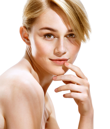 woman hands up: Pretty girl, looking at camera and smiling. Beauty & Skin Care Concept. Stock Photo