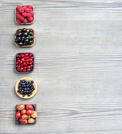 set up: Raspberry, Bilberry, Gooseberry, Cranberry and Currant on wooden background. Top view, high resolution product.