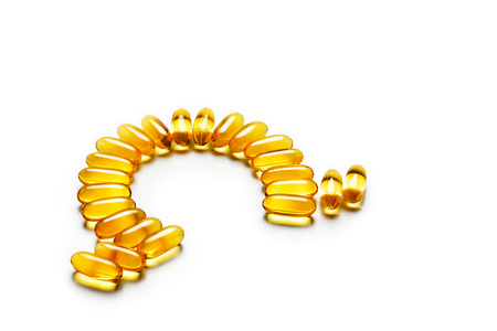 omega3: Omega-3 capsules - letter shape, isolated on white background. High resolution product. Health care concept