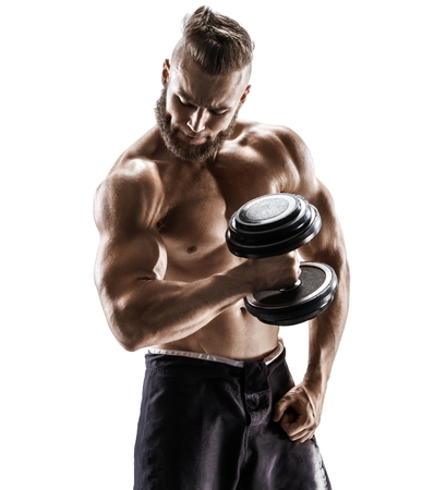 Young man with dumbbell isolated on white background. Photo of strong male with naked torso. Strength and motivation.
