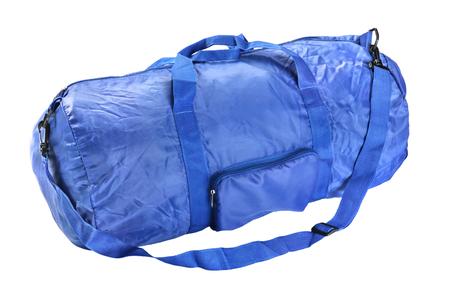 Blue road sports bag. Studio photography handbag isolated on white background. Close up.