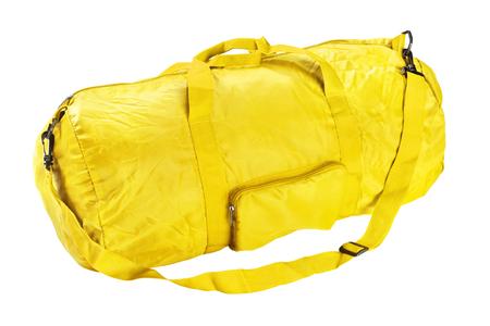 Yellow road sports bag. Studio photography handbag isolated on white background. Close up.