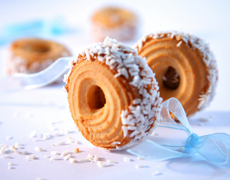 Close up of Coconut cookies on white background