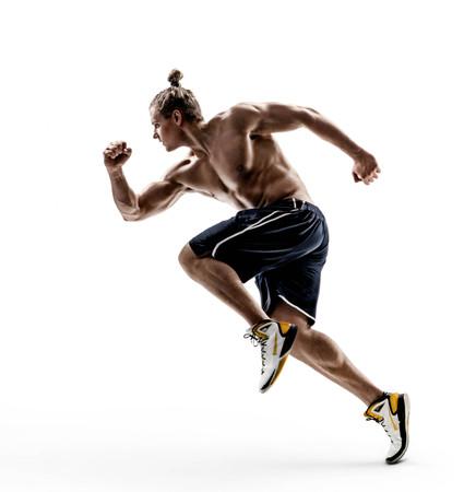 Hombre corredor en silueta sobre fondo blanco. Movimiento dinámico Vista lateral. Fuerza y ??motivación