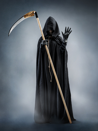 hi resolution: Grim Reaper welcomes you. Photo of silhouette grim reaper showing greeting gesture. Death