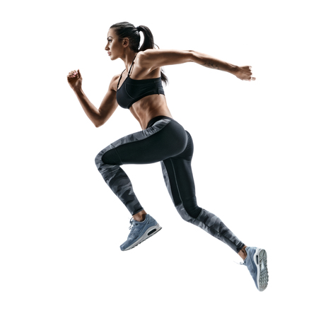 sexy photo: Woman runner in silhouette on white background. Dynamic movement. Side view Stock Photo