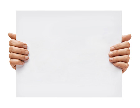 Copy space for your text. Mans hands holding empty board isolated on white background. Close up. High resolution Imagens