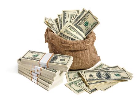 Bag of money  studio photography of bag with hundred dollar bills Stock Photo