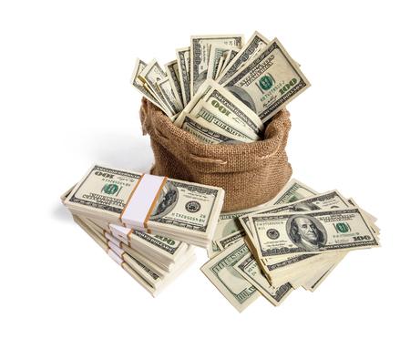Money bag  studio photography of bag with hundred dollar bills