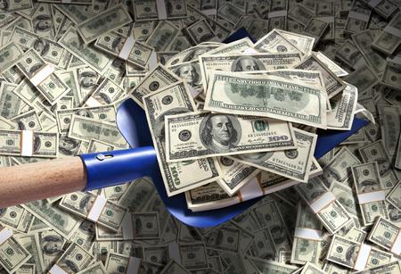 Money with shovel / studio photography of American moneys of hundred dollar