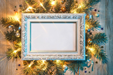 Christmas fir tree with white festive frame. Merry Christmas and Happy New Year!! Top view. High resolution product Stock Photo