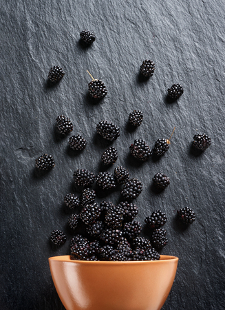 Blackberry explosion. Photo of blackberry in clay bowl on black slate. Top view. High resolution product. Stock Photo