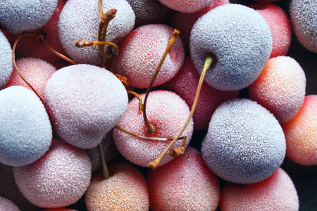 Frozen cherry. Close up. Top view. High resolution product.