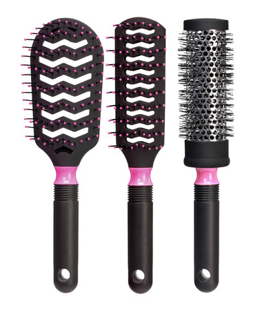 Set of black hairbrushes isolated on white background. Close up. High resolution product