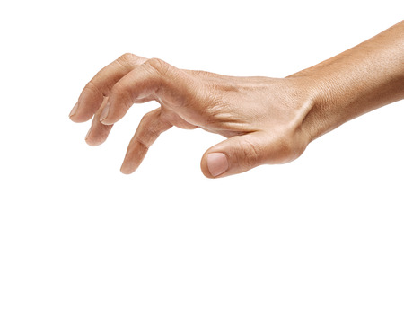 Man's hand grabbing to something isolated on a white background. Close up. High resolution product