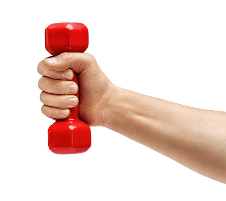 Mans hand holding dumbbell isolated on white background. Concept of healthy lifestyle