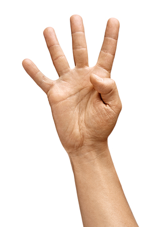 Mans hand showing four fingers isolated on white background. Sign - number four. Close up. High resolution product