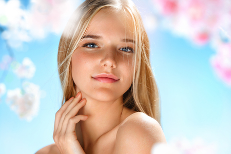 Beautiful girl with perfect skin. Beauty & Skin care concept. Spring