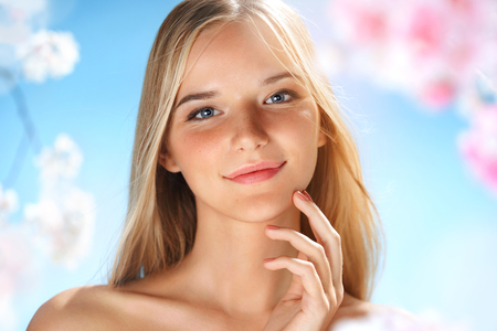 Charming young girl with beautiful makeup. Beauty & Skin care concept. Spring. Stock fotó