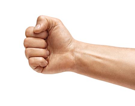 Hand des Mannes mit geschlossener Faust, lokalisiert auf weißem Hintergrund. Hochauflösendes Produkt. Nahansicht