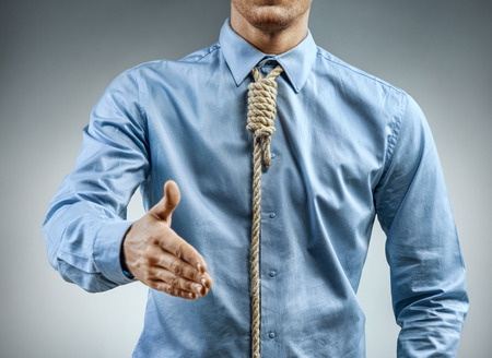 Man in shirt with knot around his neck, greeting someone. Close up. Business concept