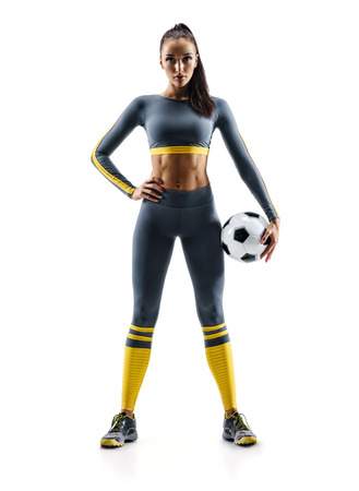 Ready to play. Soccer player woman standing in silhouette isolated on white background. Sport and healthy lifestyle