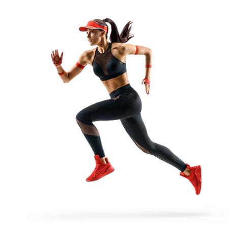 Vrouwenloper in silhouet op witte achtergrond. Dynamische beweging. Zijaanzicht Stockfoto