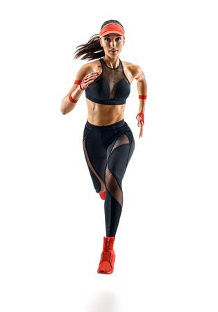 Frauenläufer im Schattenbild lokalisiert auf weißem Hintergrund. Dynamische Bewegung. Sport und gesunder Lebensstil