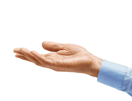 Mans hand in shirt begs to something isolated on white background. Palm up, close up. High resolution product Stok Fotoğraf