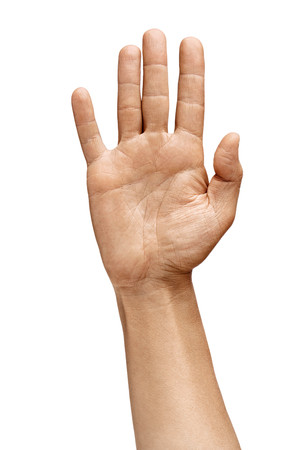 Mans hand with open palm shows a voting sign or agreement gesture. Close up. High resolution product Stock Photo