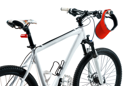 Active life. The bicycle in silhouette on white background. Sport and healthy lifestyle