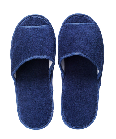 Blue hotel slippers isolated on white background. Close up, high resolution