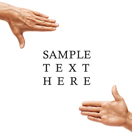 Future planning. Close up of mens hands making frame gesture isolated on white background. Copy spase. High resolution product
