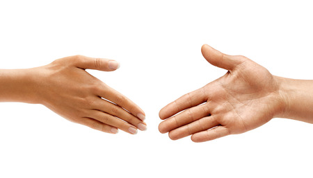 Mans hand and womans hand make handshake isolated on white background. Close up. High resolution