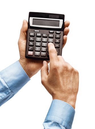 Mens hands in shirt holding calculator isolated on white background. Close up. High resolution product