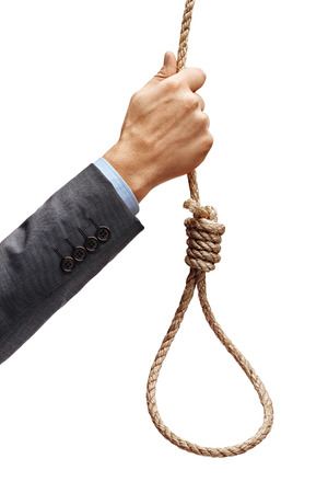 Mans hand in suit holding rope noose isolated on white background. Concept for depression, melancholy, sadness, dejection, despondency