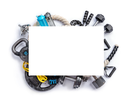 Sports equipment with board for copy space on a white background. Top view. Motivation