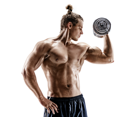 Strong man doing exercises with dumbbell at biceps. Photo of sporty man shirtless isolated on white background. Strength and motivation Reklamní fotografie