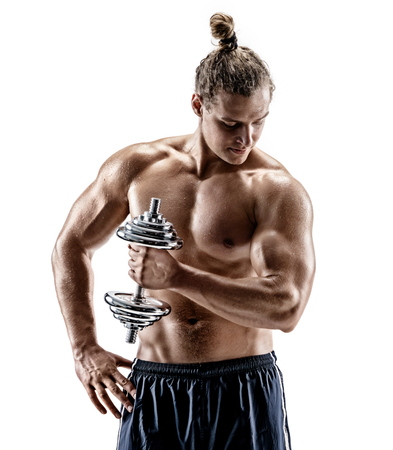 Man doing exercises with dumbbell. Photo of sporty man with naked torso on white background. Strength and motivation
