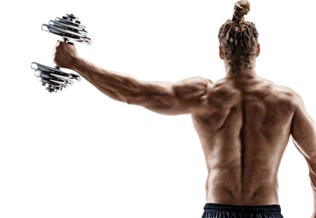Rear view of strong man lifting dumbbell. Photo of sporty man shirtless on white background. Strength and motivation.