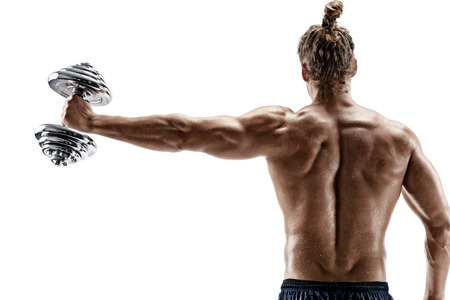 Rear view of strong man lifting dumbbell. Photo of sporty muscular male with torso isolated on white background. Strength and motivation.
