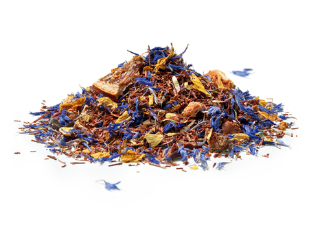 Heap of Rooibos tea with cornflower and orange slices isolated on white background. Close up. High resolution Standard-Bild - 119138393