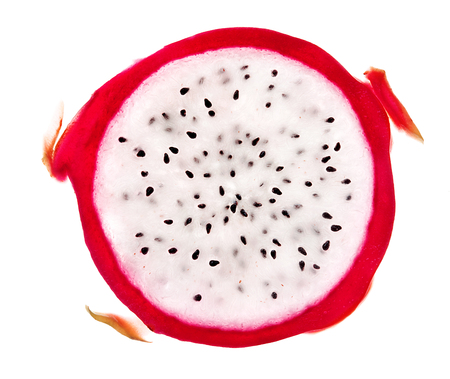 Slice of dragon fruit isolated on white background. Close up. Top view. High resolution product 版權商用圖片