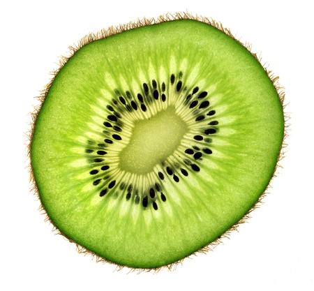 Slice of kiwi fruit isolated on white background. Close up. Top view. High resolution product Standard-Bild - 121015031