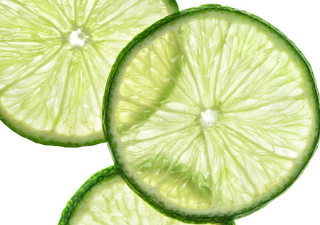 Slices of lime on white background. Close up. Top view. High resolution product
