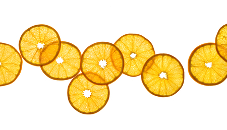 Slices of orange isolated on white background. Close up. Top view. High resolution product 写真素材