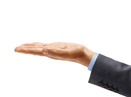 Mans hand in suit holding open palm up isolated on white background. Palm up, close up. High resolution product